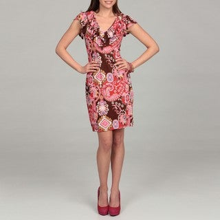 24/7 Comfort Apparel Women's Paisley Ruffle Dress