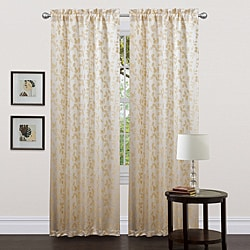 Lush Decor Beige 84-inch Golden Leaf Curtain Panels (Set of 2)