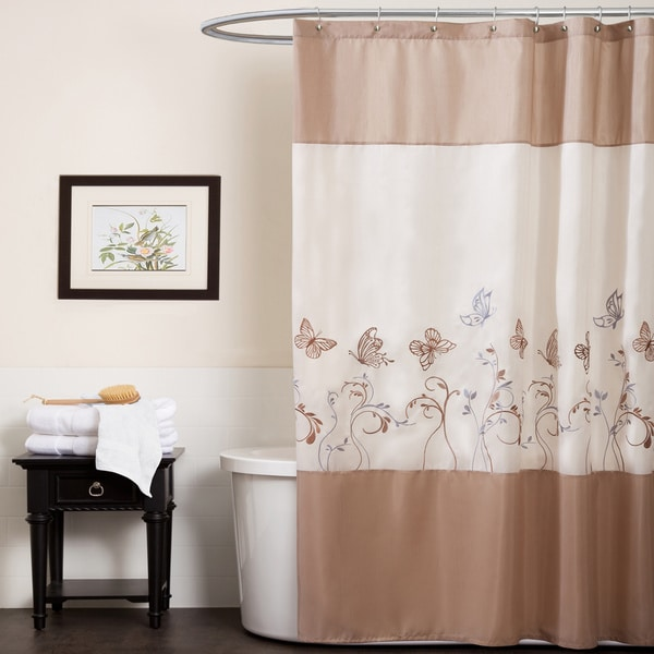 Lush Decor Butterfly Dreams Beige/ Taupe Shower Curtain