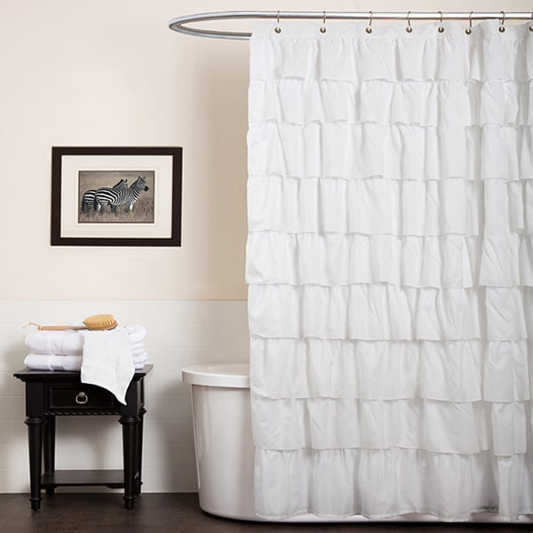 Lush Decor White Ruffle Shower Curtain - 14120093 - Overstock.com ...