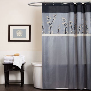Lush Decor Cocoa Flower Grey/ Black Shower Curtain