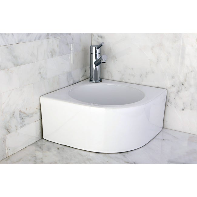 White Vitreous China Corner Vessel Bathroom Sink