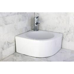 White Vitreous China Corner Vessel Bathroom Sink