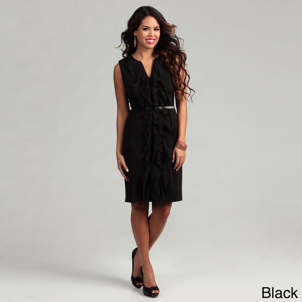 Connected Apparel Women's Chiffon Belted Dress