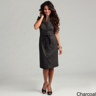 Connected Apparel Women's Belted Coat Dress