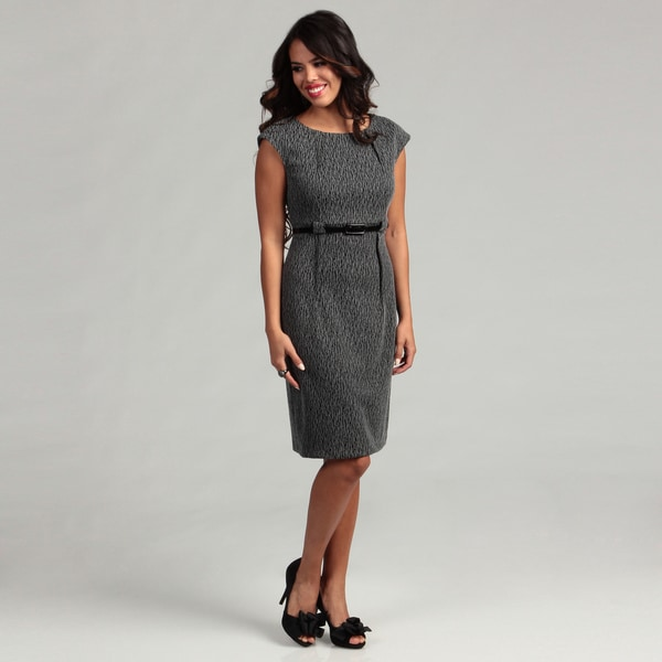Connected Apparel Women's Grey Belted Dress