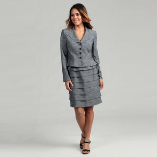 Nine West Women's Slate Blue 4-button Skirt Suit