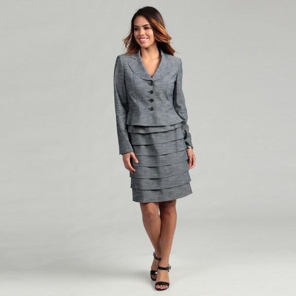 Nine West Women's Slate Blue 4-button Skirt Suit