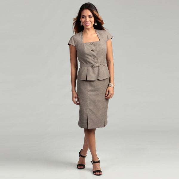 Nine West Women's Espresso/ Beige Tweed Skirt Suit