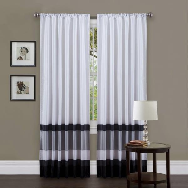 Lush Decor White/ Black 84-inch Iman Curtain Panel