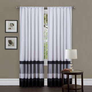 Lush Decor White/ Black 84-inch Iman Curtain Panel