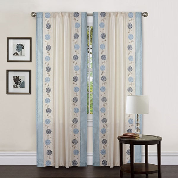 Lush Decor Beige/ Blue 84-inch Annabelle Curtain Panel