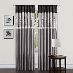 Lush Decor Grey/ Black 84-inch Cocoa Blossom Curtain Panels (Set of 2)