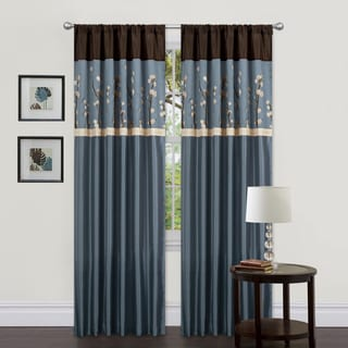 Lush Decor Blue/ Brown 84-inch Cocoa Blossom Curtain Panels (Set of 2)