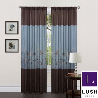 Lush Decor Blue/ Brown 84-inch Butterfly Dreams Curtain Panels (Set of 2)