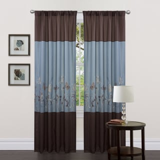 Lush Decor Blue/ Brown 84-inch Butterfly Dreams Curtain Panels ...