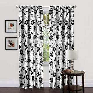 Lush Decor White/ Black 84-inch Garden Blossom Curtain Panels (Set of 2)