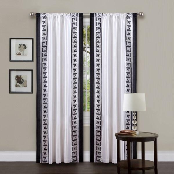 Lush Decor White/ Black 84-inch Metropolitan Curtain Panel