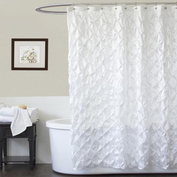 Lush Decor Quartet White Shower Curtain