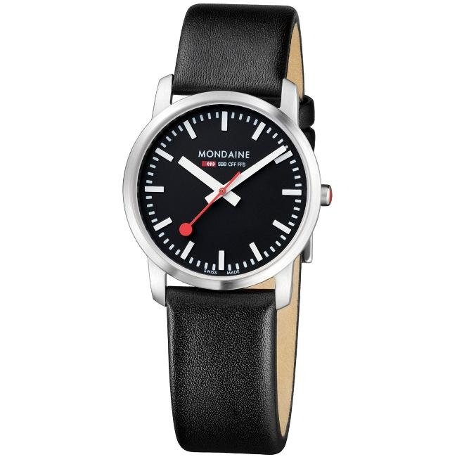 Mondaine Women's 'Simply Elegant' Stainless Steel Black Dial Watch