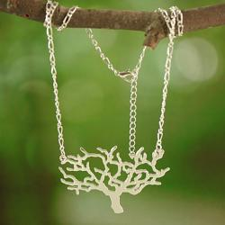 Silvertone Cut-out Tree Necklace (Thailand)