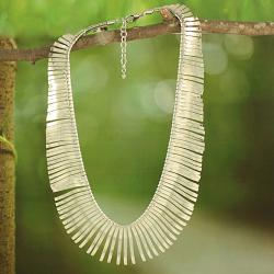 Silvertone Sunburst Collar Necklace (India)