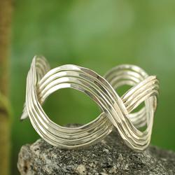Silvertone Hammered Eternity Design Cuff Bracelet (India)
