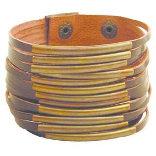 Brown Leather and Antiqued Goldtone Bar Bracelet (India)