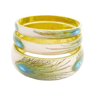 Handcrafted Set of 3 Goldtone Peacock Print Bangle Bracelets (India)