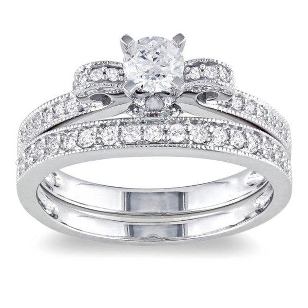 Miadora Signature Collection 14k White Gold 3/4ct TDW Diamond Bow Bridal Ring Set (G-H, I1-I2)