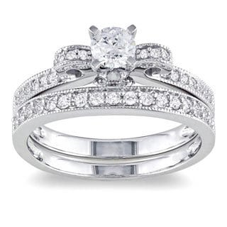 Miadora 14k White Gold 3/4ct TDW Diamond Bow Bridal Ring Set (G-H, I1-I2)