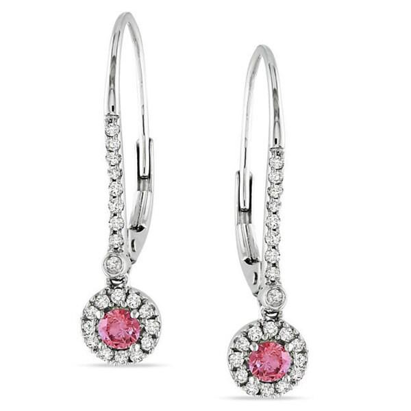Miadora 10k White Gold 1/3ct TDW Pink and White Diamond Earrings (H-I, I1-I2)