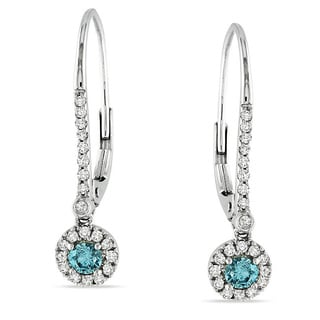 Miadora 10k White Gold 1/3ct TDW Blue or Yellow and White Diamond Dangle Earrings (I1-I2)
