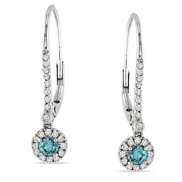 Miadora 10k White Gold 1/3ct TDW Blue or Yellow and White Diamond Dangle Earrings (I1-I2)