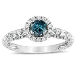 14k White Gold 1/2ct TDW Blue and White Diamond Halo Ring (H-I, I1-I2)