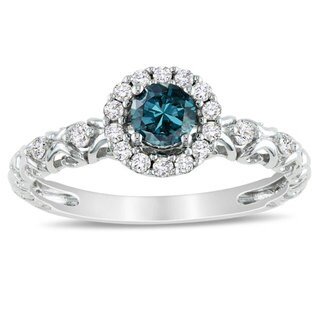 Miadora 14k White Gold 1/2ct TDW Blue and White Diamond Halo Ring (H-I, I1-I2) with Bonus Earrings