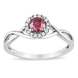 Miadora 10k White Gold 3/8ct TDW Pink and White Diamond Ring (H-I, I1-I2)
