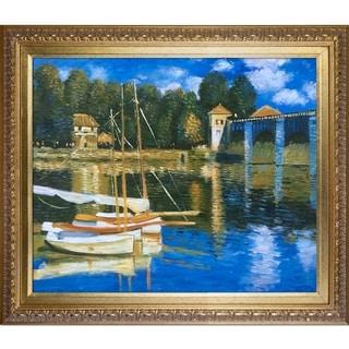 Claude Monet 'The Road Bridge at Argenteuil' Framed Canvas Art