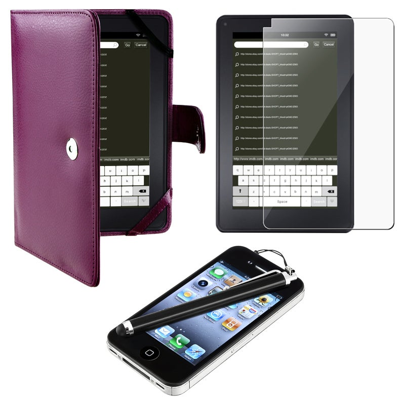 Purple Leather Case/ Screen Protector/ Stylus for Amazon Kindle Fire