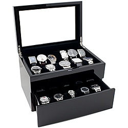 Caddy Bay Collection High Gloss Piano Black Glasstop 20-Watch Case