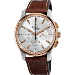 Zenith Men's 'El Primero' Silver Dial Brown Leather Strap Watch