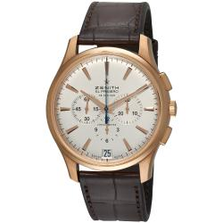 Zenith Men's 'El Primero' Rose Gold Brown Leather Strap Watch