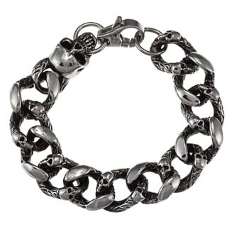 Inox Men's Stainless Steel 'Skull Crusher' Link Bracelet
