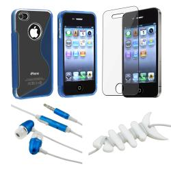BasAcc Blue Case Protector/ Headset/ Wrap for Apple iPhone 4S
