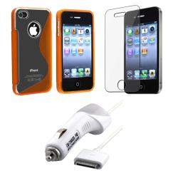 Orange Case/ Screen Protector/ Car Charger iPhone 4S
