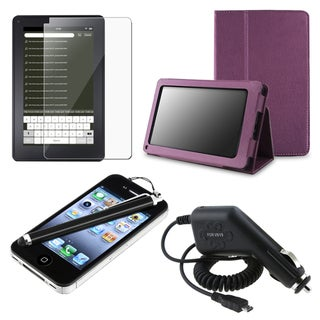 Leather Case/ Screen Protector/ Charger/ Stylus for Amazon Kindle Fire