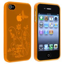 Clear Orange Flower Butterfly TPU Rubber Case for Apple iPhone 4/ 4S