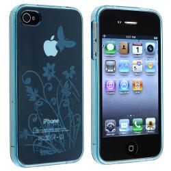 Clear Blue Flower/ Butterfly TPU Rubber Case for Apple iPhone 4/ 4S