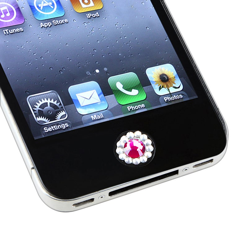 INSTEN Peel-and-Stick Purple Diamond Home Button Sticker for Apple iPhone/ iPad/ iPod touch