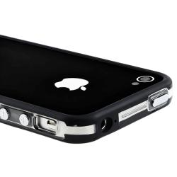 Clear/ Black Bumper TPU Case with Button for Apple iPhone 4/ 4S
